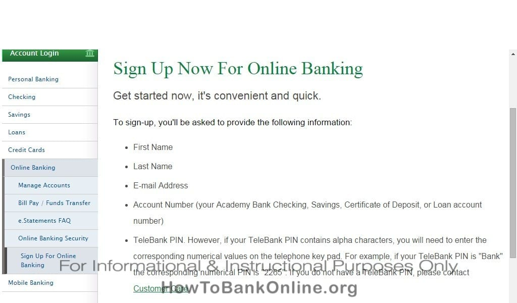 Academy Bank Enroll Online Banking (Step 1)