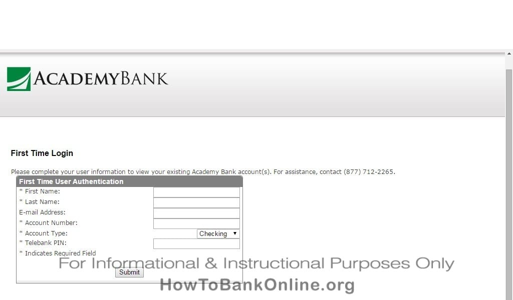 Academy Bank Enroll to Online Banking