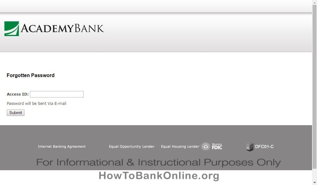 Academy Bank Lost Password