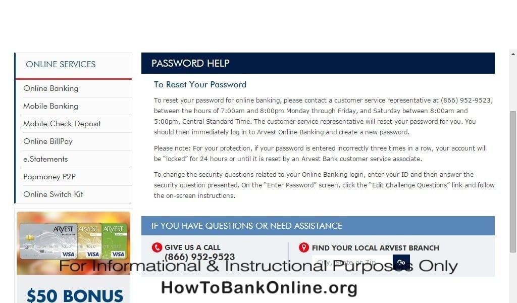 Arvest Bank Lost Password