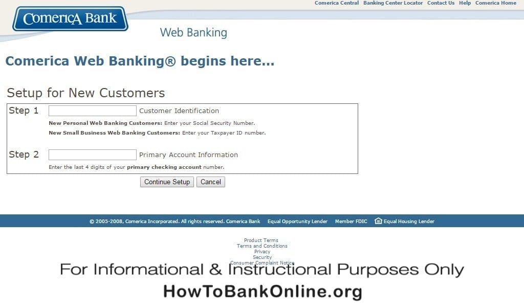 Comerica Enroll in Online Banking