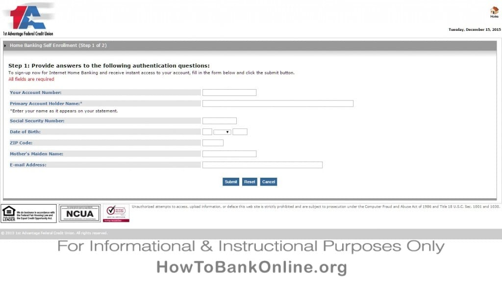 Enrolling to 1st Advantage Online Banking