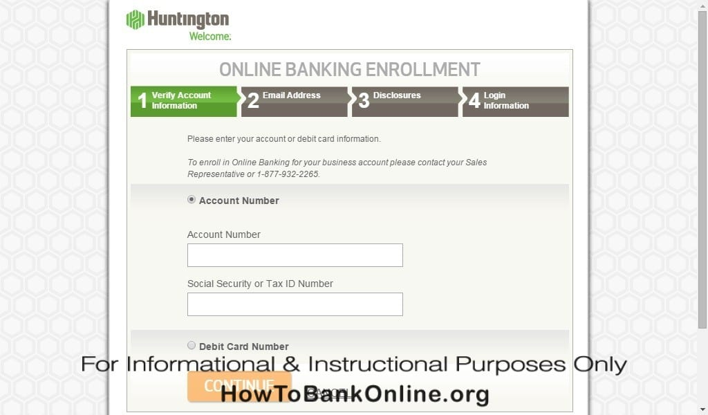 Enrollment to Huntington Online Banking