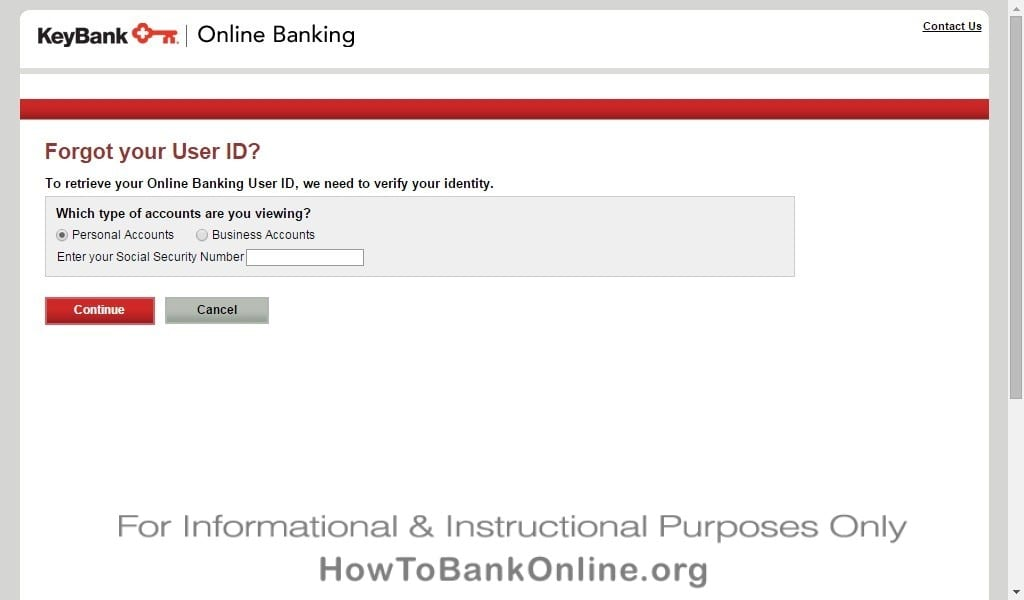 KeyBank Forgot UserID