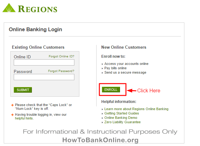 Regions Bank Login / Enroll Box
