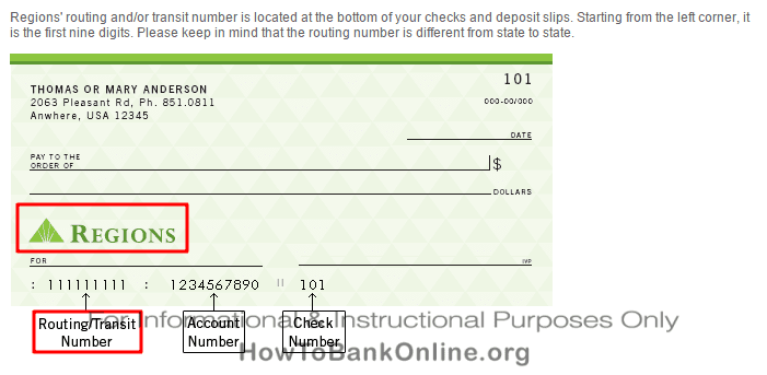 Regions Bank Routing Number On Check
