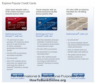 Bank of America Popular Credit Cards