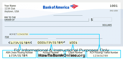 Bank of America Routing Number on Check