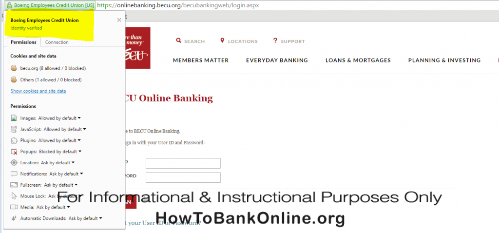 Always make sure that the Identity of the BECU Online Banking website is verified.